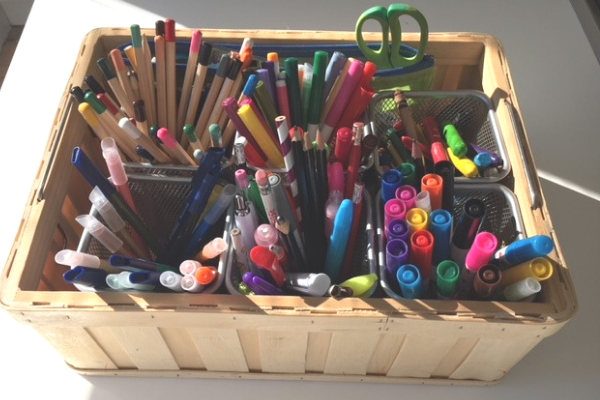 Stationery decluttering and organisation
